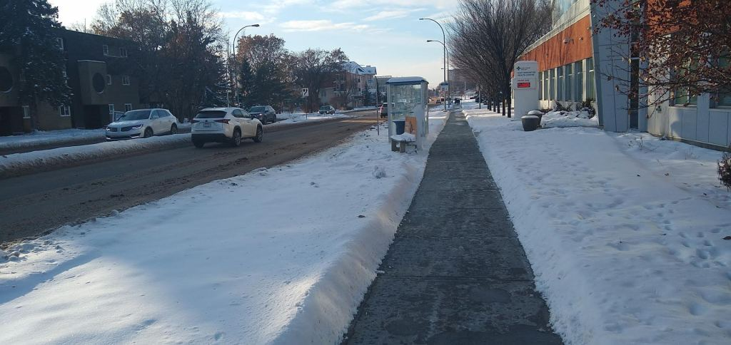 a clear sidewalk, free of snow or ice in the winter
